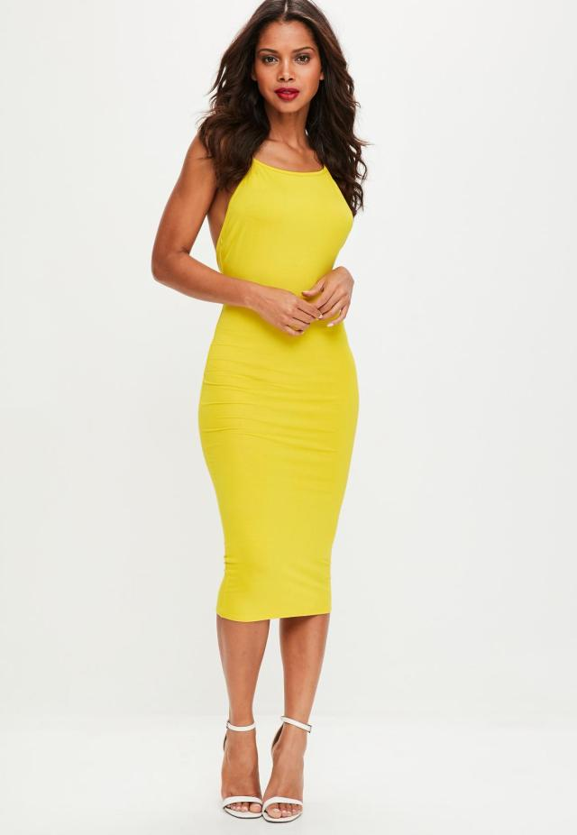 yellow-low-back-90s-neck-bodycon-midi-dress